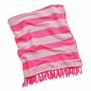 PINK VICTORIA'S SECRET Stripe Fringe Throw Blanket
